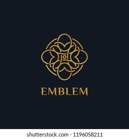 Luxury flower logo related to Boutique, Hotel, Restaurant, Jewelry, Resort or Interior. Floral emblem design. Flower icon concept.