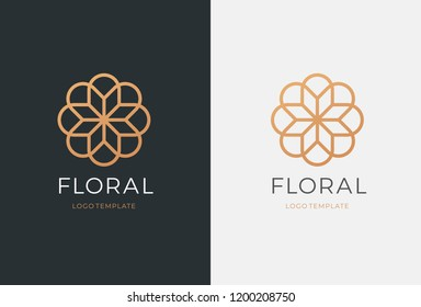Luxury flower vector logotype. Linear universal leaf floral logo