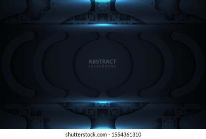 Luxury frame dark blue shapes background with lighting element decoration. Modern vector design template for use cover, banner, frame, card, invitation