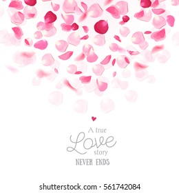 Luxury fresh rose petals is falling in the air romantic vector card. Wedding celebration design frame. Stylish fashion pink backdrop. Saint Valentines template. All elements are isolated and editable