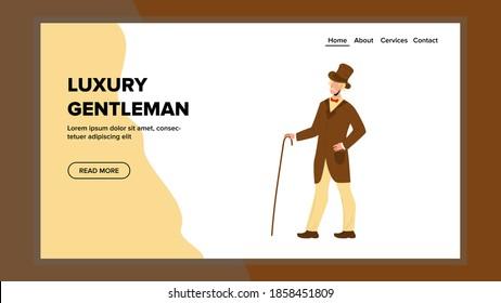Luxury Gentleman In Elegant Vintage Costume Vector. Luxury Gentleman Aristocrat Wearing Retro Stylish Costume And Hat Walking With Cane Accessory. Character Man Web Flat Cartoon Illustration