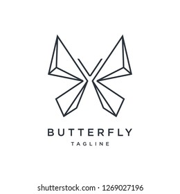 A luxury and geometric Butterfly logo. suitable for building and architecture company.