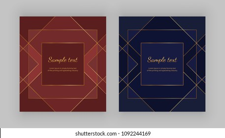 Luxury geometric design. Golden lines on the red, blue background. Modern templates for product package, menu, banner, card, flyer, invitation, brochure, print advertising, cover, business, layout
