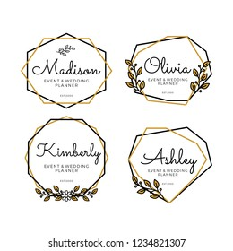 Luxury Geometric Logo Templates for Wedding Planner and event collection