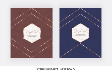Luxury geometric red and blue design cards with golden polygonal lines frames. Trendy templates for banner, flyer, poster, greeting.