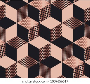 Luxury geometric shapes mosaic in pale rose gold and black colors. Geometry cube and hexagon seamless pattern.