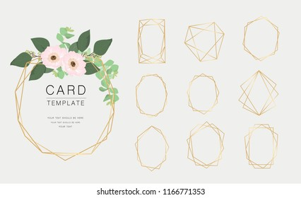 Luxury geometrical polyhedron, wedding invitation deco style design, You can put leaf or flower on top or bottom  for make elements in romantic theme,  Vector illustration