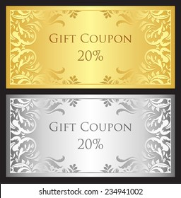 Luxury gift coupon with gold and silver victorian ornament