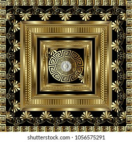 Luxury gold 3d geometric greek key panel pattern.  Vector square meanders ornament with figured surface frame, floral borders, round mandala. Greek flowers. Design for panel, card, wallpaper, tiles