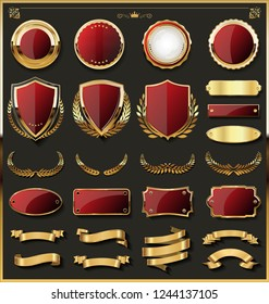 Luxury gold badges and labels design elements collection