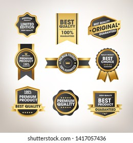 Luxury gold badges and labels premium quality product