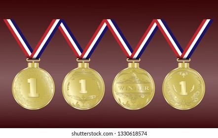 Luxury gold badges or sports medals in vintage style for  the winner or premium quality product, vector illustration