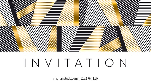 Luxury gold and black stripes pattern for header, card, invitation, poster. Vector abstract illustration with geometric textured shapes. Business, masculine, serious mood design element.