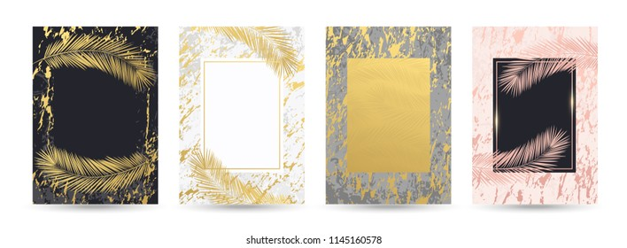 Luxury gold, black, white, grey, rosa, pink marble backgrounds, cards, invitation set with golden palm leaves and premium design. Wedding, birthday, summer, leaf pattern templates, geometric frames