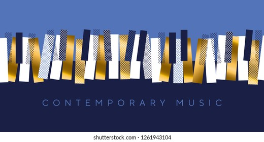 Luxury gold and blue invitation for music concert, Classic piano keyboard in modern dynamic style. Elegant urban modern design element for music and dance projects.