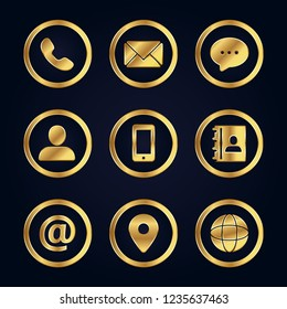 Luxury gold business contact icon