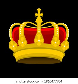 luxury gold crown on black background vector illustration editable