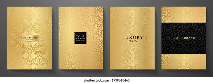 Luxury gold curve pattern cover design set. Elegant floral ornament on golden background. Premium vector collection for rich brochure, luxe invite, royal wedding template