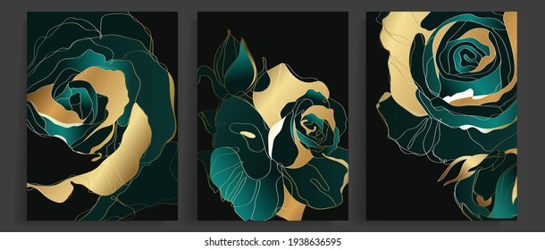 Luxury gold and dark green rose abstract line art background vector. Wall art design with emerald and gold colors. Vector illustration