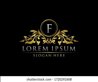 Luxury Gold F Letter Logo template in vector for Restaurant, Royalty, Boutique, Cafe, Hotel, Heraldic, Jewelry, Fashion and other vector illustration