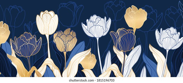 luxury gold floral line art wallpaper vector. Exotic botanical background, Tulip flower vintage boho style for textiles, wall art, fabric, wedding invitation, cover design Vector illustration.