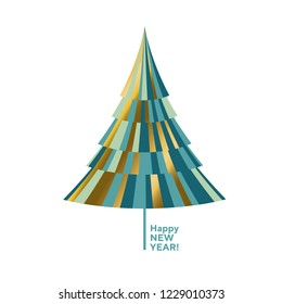 Luxury gold and green decorative Christmas tree. Design element for xmas card, invitation, poster.