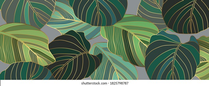 Luxury gold and green leaf wallpaper. Nature background vector. Floral pattern with golden split-leaf Philodendron plant with monstera plant line art on green emerald color background.