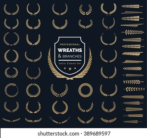 Luxury Gold Heraldic Crests Logo Element Set. Vintage laurel wreaths icons