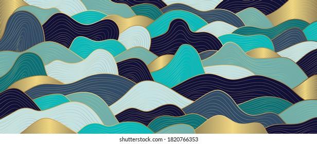 Luxury Gold line art wallpaper. Wave Wall art background design for home decor, wallpaper, print, cover, website, packaging design. vector illustration.