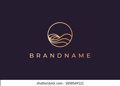 Luxury gold line logo design with simple and modern shape of sea water wave in a circle