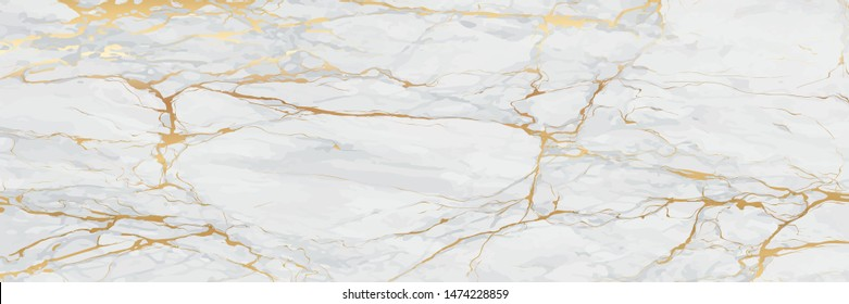 Luxury Gold Marble texture background vector. Panoramic Marbling texture design for Banner, invitation, wallpaper, headers, website, print ads, packaging design template.