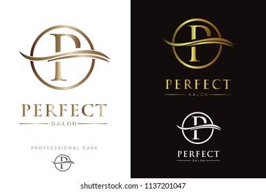 Luxury Gold Monogram P in circle Logo/Icon