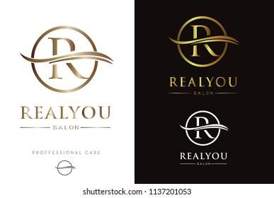 Luxury Gold Monogram R in circle Logo/Icon