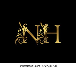 Luxury Gold N, H and NH Letter Classy Floral Logo Icon. Vintage drawn emblem for book design, weeding card, letter stamp, Restaurant, Boutique, Hotel.