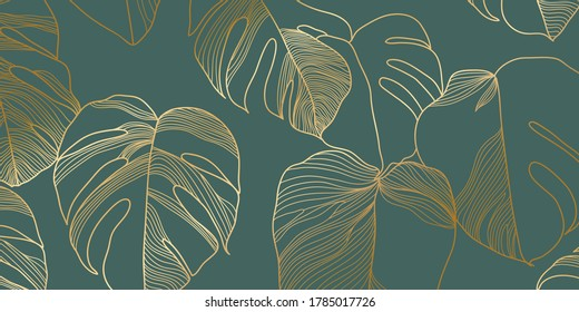 Luxury gold and nature green background vector. Floral pattern, Golden split-leaf Philodendron plant with monstera plant line arts, Vector illustration. - Shutterstock ID 1785017726