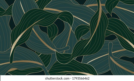Luxury gold and nature green background vector. Floral pattern, Calathea lutea,Tropical foliage,Exotic tropical leaf, Calathea leaf  line arts, Vector illustration.
