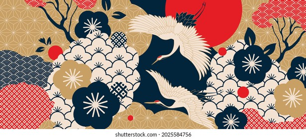 Luxury gold oriental style background vector. Chinese and Japanese oriental line art with golden texture. Wallpaper design with Cherry blossoms flower and Flamingo. Ocean and wave wall art.