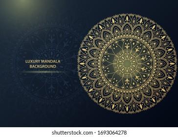 Luxury gold ornamental mandala background. Vector illustration