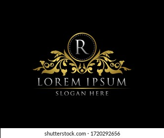 Luxury Gold R Letter Logo template in vector for Restaurant, Royalty, Boutique, Cafe, Hotel, Heraldic, Jewelry, Fashion and other vector illustration