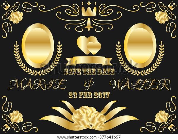 Luxury Gold Save Date Wedding Invitation Royalty Free