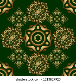 Luxury gold seamless pattern with abstract vector elements. Golden pattern on green background.