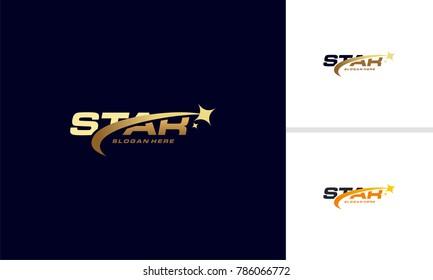 Luxury Gold Star logo designs template, Elegant Star logo designs, Fast star logo designs concept