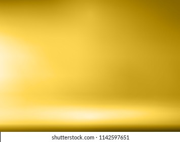 Luxury Gold Studio room background with Spotlights well use as Business backdrop, Template mock up for display of product, Vector illustration