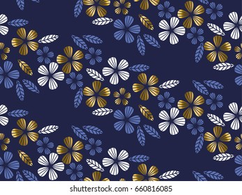 Luxury gold style tropical leave and flower element for festive design. geometry floral seamless pattern for surface design.