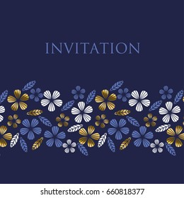 Luxury gold style tropical leave and flower element for festive design. geometry floral pattern for poster, card, invitation, print and web design.