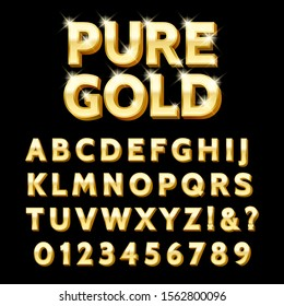 Luxury gold type. Luxurious style golden black 3d font, jewellery rich text with letters and numbers signs for celebrating concepts