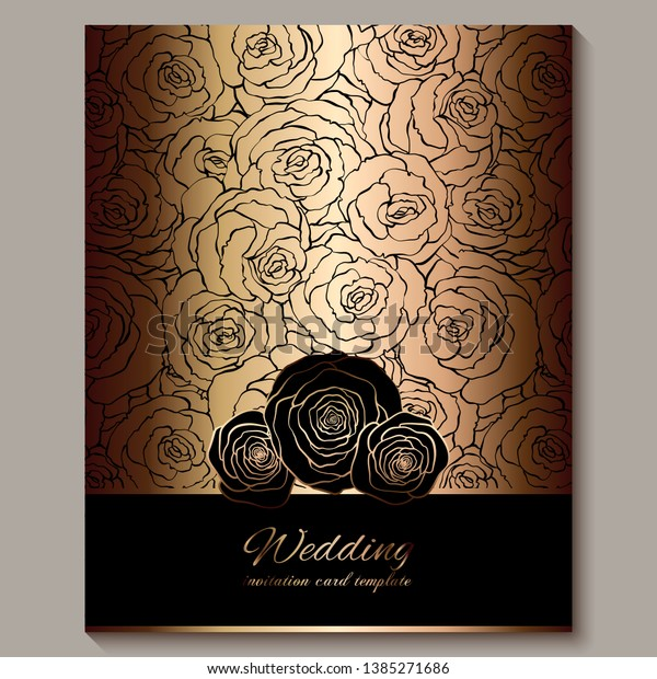 luxury gold vintage wedding invitation floral stock vector royalty free 1385271686 https www shutterstock com image vector luxury gold vintage wedding invitation floral 1385271686
