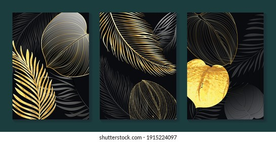Luxury gold wallpaper. Black and golden abstract background. Tropical leaves wall art design with dark blue and green color, shiny golden light texture. Modern art mural wallpaper.