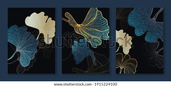 Luxury gold wallpaper.  Black and golden background. Tropical leaves wall art design with dark blue and green color, shiny golden light texture. Modern art mural wallpaper. Vector illustration.