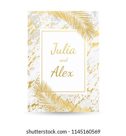 Luxury gold, white, grey, marble abstract background, card, invitation with golden palm leaves and premium design. Wedding, birthday, summer, leaf pattern templates, geometric frame